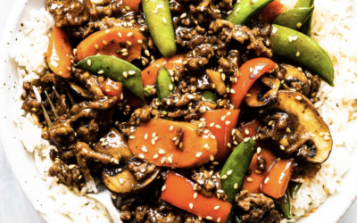 BEEF MINCE STIR FRY WITH GINGER & GARLIC SAUCE