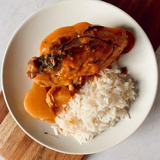 creamy garlic chicken with rice